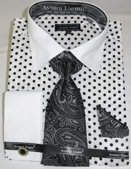 White Black Colorful Men's Dress Shirt