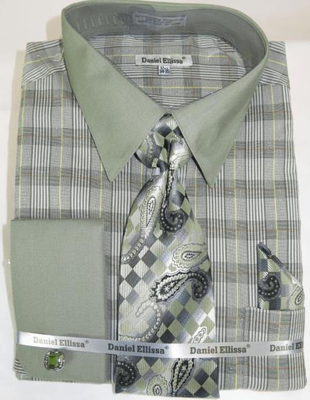 Olive Colorful Men's Dress Shirt