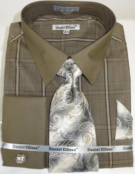 Brown Colorful Men's Dress Shirt