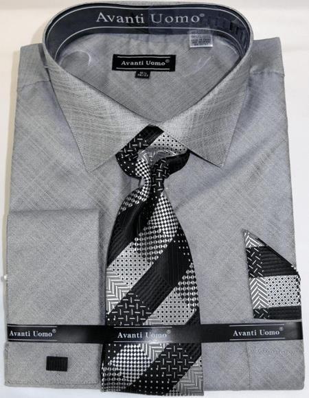 Grey Colorful Men's Dress Shirt