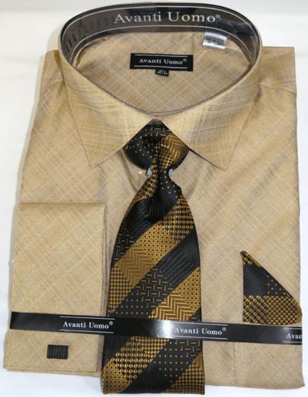 Tan Colorful Men's Dress Shirt