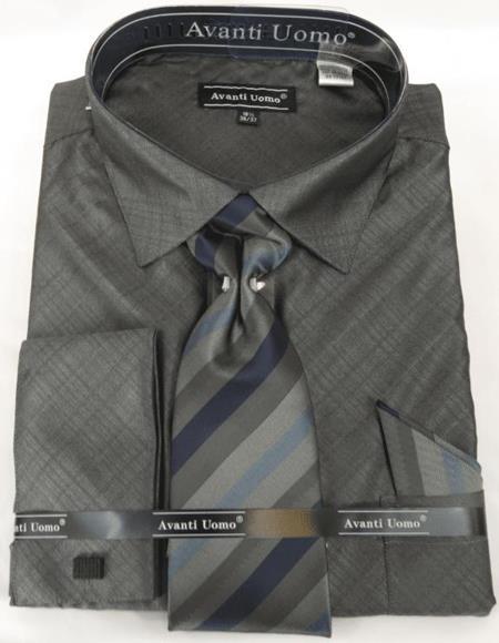 Black Charcoal Colorful Men's Dress Shirt
