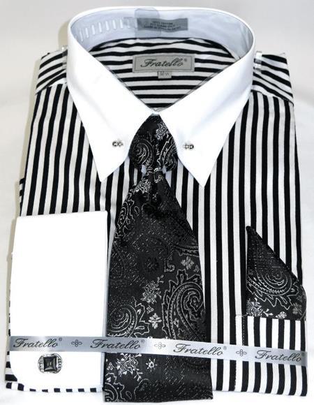 Bold Black/White Stripe Colorful Men's Dress Shirt