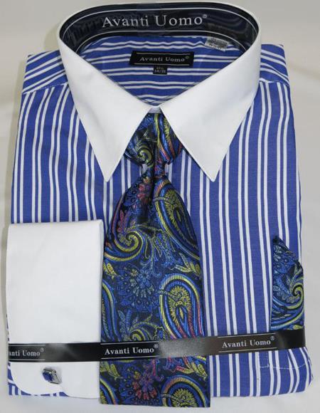 Royal Blue Stripe Colorful Mens Dress Shirt