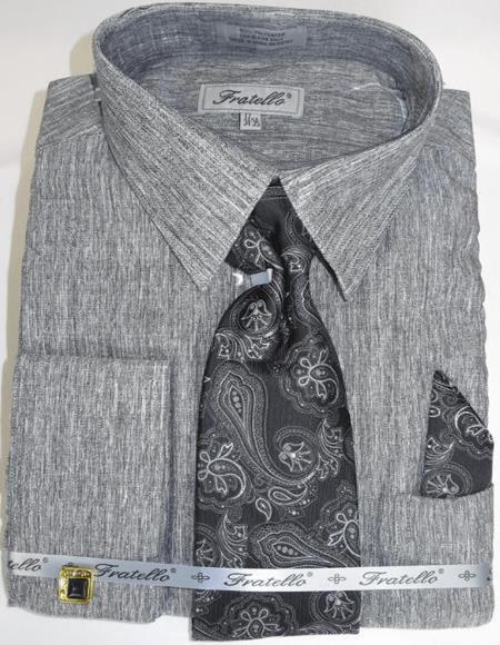Black Grey Stripe Colorful Men's Dress Shirt