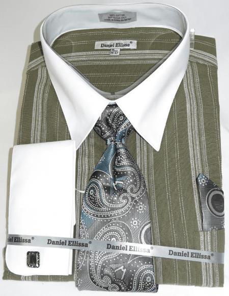 Olive Green Colorful Men's Dress Shirt