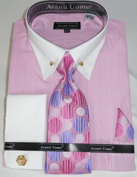 Pink Pencil Stripe Colorful Men's Dress Shirt