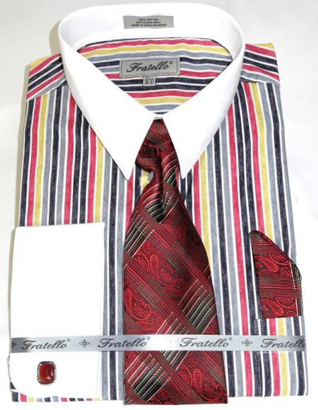Red Cathedral Stripe Colorful Pinstripe Pattern - White Collared - French Cuffed Men's Dress Shirt
