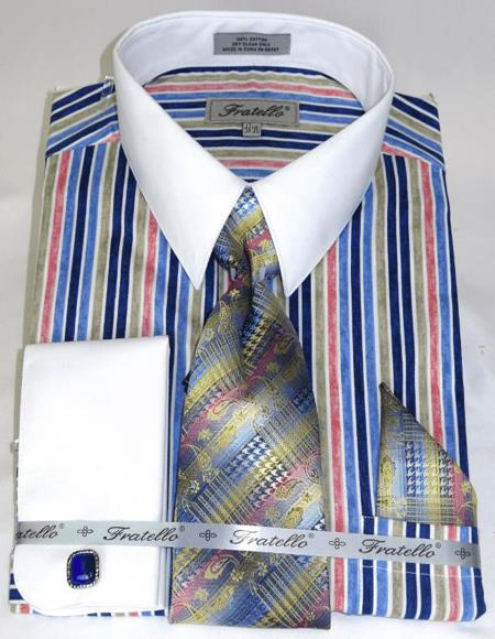 Blue Pinstripe Pattern - White Collared - French Cuffed Cathedral Stripe Colorful Men's Dress Shirt
