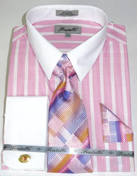 Pink Colorful Pinstripe Pattern - White Collared - French Cuffed Men's Dress Shirt