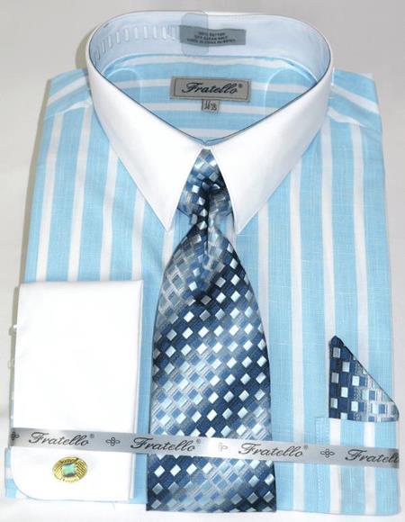 Aqua Colorful Pinstripe Pattern - White Collared - French Cuffed Men's Dress Shirt