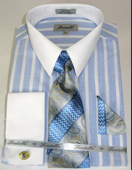 Blue Colorful Pinstripe Pattern - White Collared - French Cuffed Men's Dress Shirt