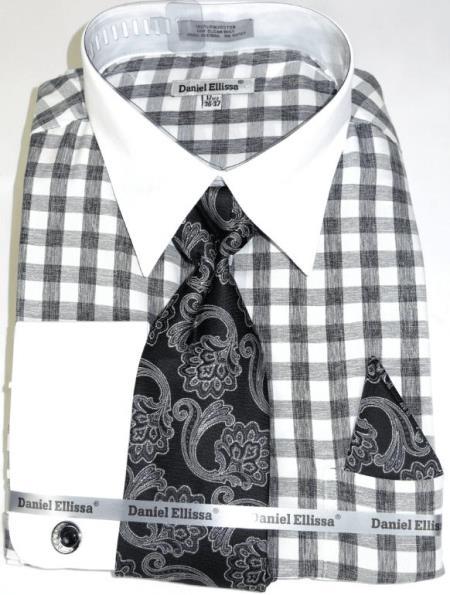 Black Colorful Men's Dress Shirt