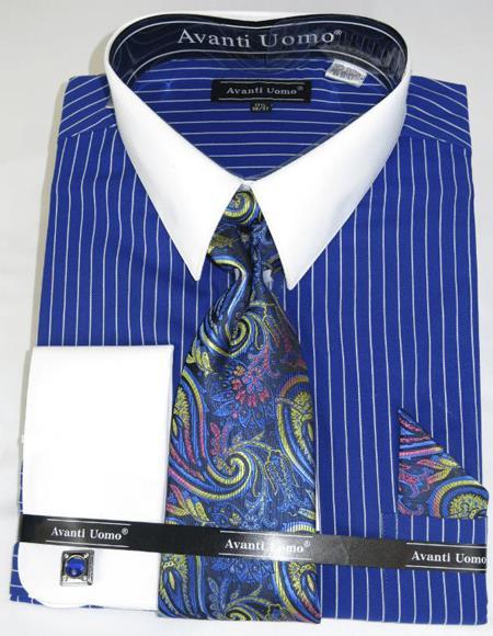 Royal Pencil Stripe Colorful Men's Dress Shirt
