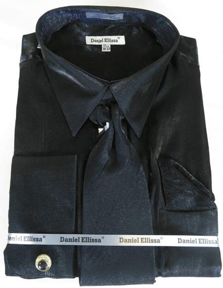 Black Colorful Men's Sateen Dress Shirt