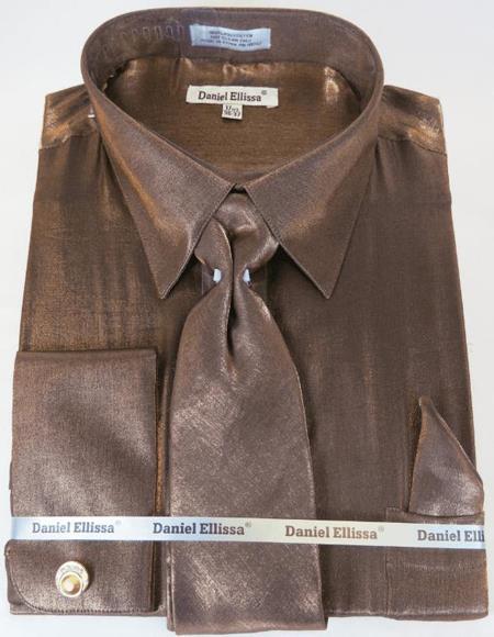 Brown Colorful Men's Sateen Dress Shirt