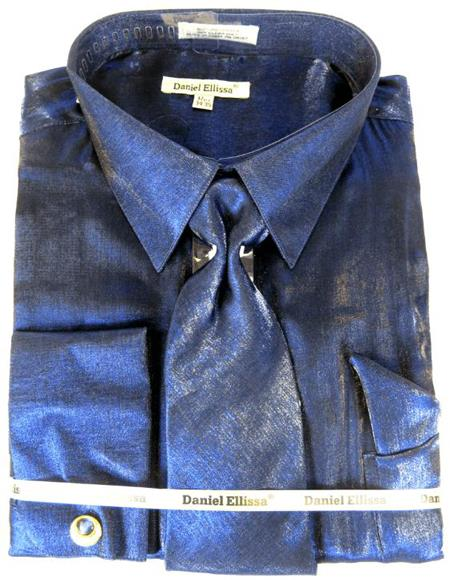 Navy Blue Colorful Mens Sateen Dress Shirt