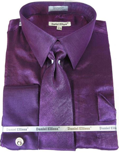Purple Colorful Men's Sateen Dress Shirt