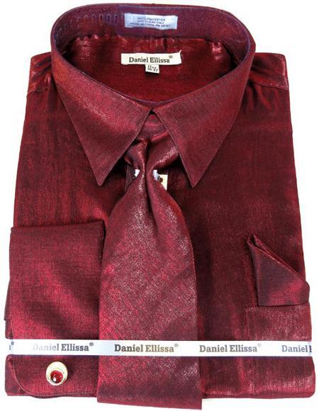 Wine Colorful Men's Sateen Dress Shirt