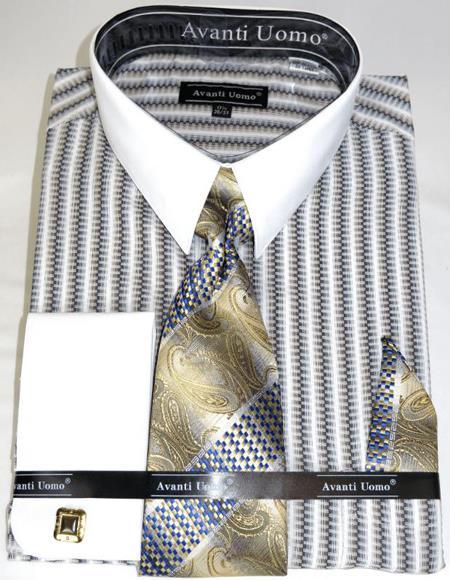 Beige Awning Stripe Colorful Men's Dress Shirt