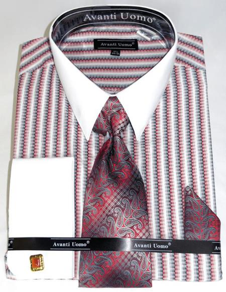Red Awning Stripe Colorful Mens Dress Shirt
