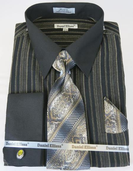Mens Fashion Dress Shirts and Ties Black Taupe Colorful Men's Dress Shirt