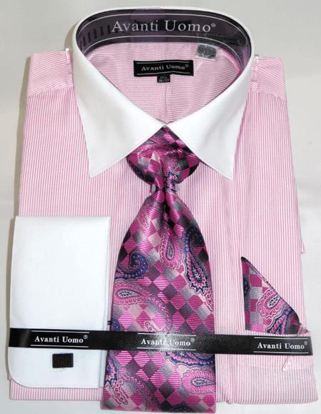 Mens Fashion Dress Shirts and Ties Pink Pencil Stripe Colorful Men's Dress Shirt