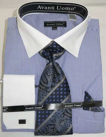Mens Fashion Dress Shirts and Ties Royal Pencil Stripe Colorful Men's Dress Shirt