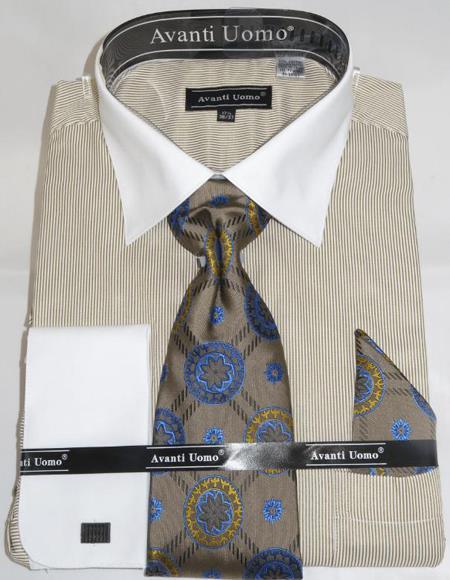 Mens Fashion Dress Shirts and Ties Beige Pencil Stripe Colorful Men's Dress Shirt