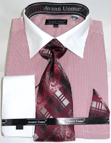 Mens Fashion Dress Shirts and Ties Red Pencil Stripe Colorful Men's Dress Shirt
