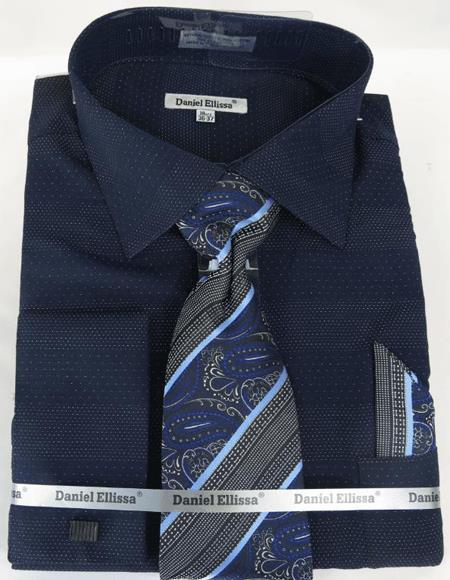 Mens Fashion Dress Shirts and Ties Navy Colorful Men's Dress Shirt