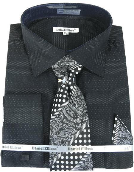Mens Fashion Dress Shirts and Ties Black Black Colorful Men's Dress Shirt