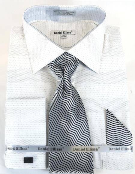 Mens Fashion Dress Shirts and Ties Men's White Colorful Dress Shirt