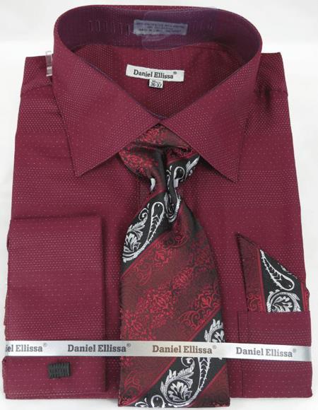 Mens Fashion Dress Shirts and Ties Burgundy Colorful Men's Dress Shirt