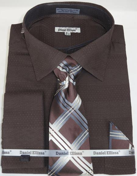 Mens Fashion Dress Shirts and Ties Brown Chocolate Colorful Men's Dress Shirt