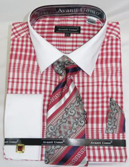 Mens Fashion Dress Shirts and Ties Red Colorful Plaid - Checker Pattern White Collared French Cuffed Men's Dress Shirt