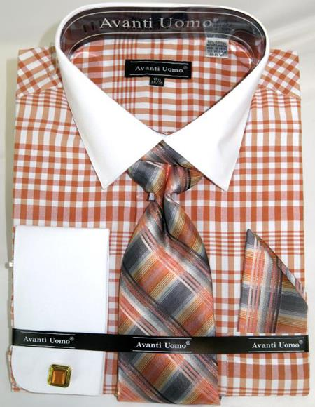 Mens Fashion Dress Shirts and Ties Coral Colorful Plaid - Checker Pattern White Collared French Cuffed Men's Dress Shirt