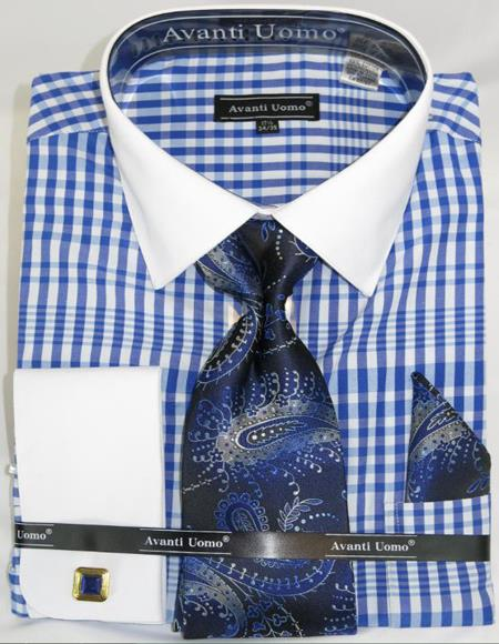 Blue Colorful Plaid - Checker Pattern White Collared French Cuffed Mens Dress Shirt