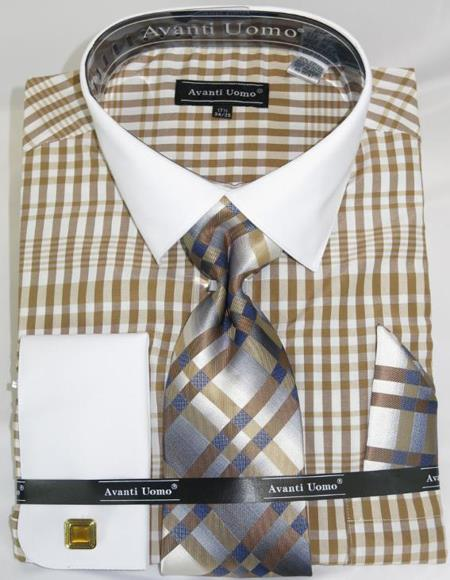 Mens Fashion Dress Shirts and Ties Beige Colorful Plaid - Checker Pattern White Collared French Cuffed Men's Dress Shirt