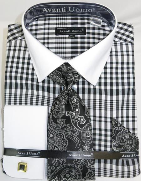 Mens Fashion Dress Shirts and Ties Black Colorful Plaid - Checker Pattern White Collared French Cuffed Men's Dress Shirt