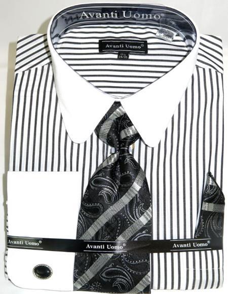 Mens Fashion Dress Shirts and Ties Black Banker Stripe Colorful Men's Dress Shirt