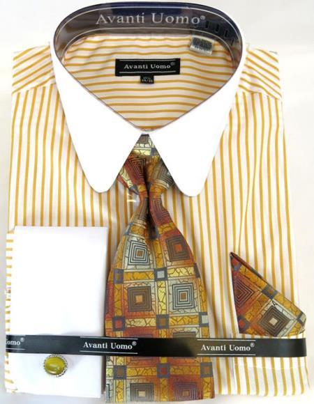 Mens Fashion Dress Shirts and Ties Mustard Banker Stripe Colorful Men's Dress Shirt