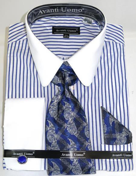 Mens Fashion Dress Shirts and Ties Royal Banker Stripe Colorful Men's Dress Shirt