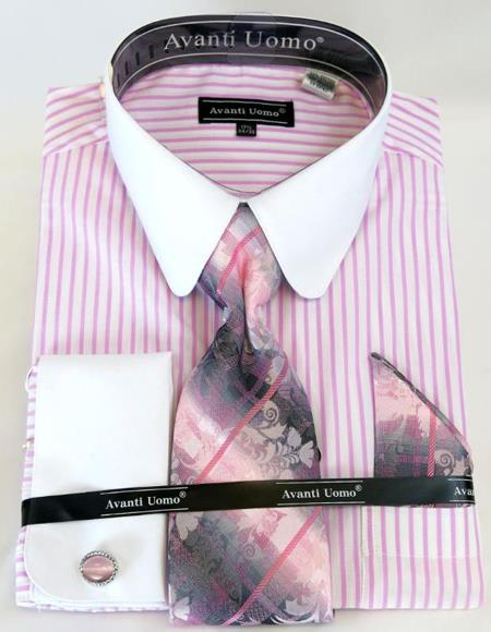 Pink Banker Stripe Colorful Mens Dress Shirt
