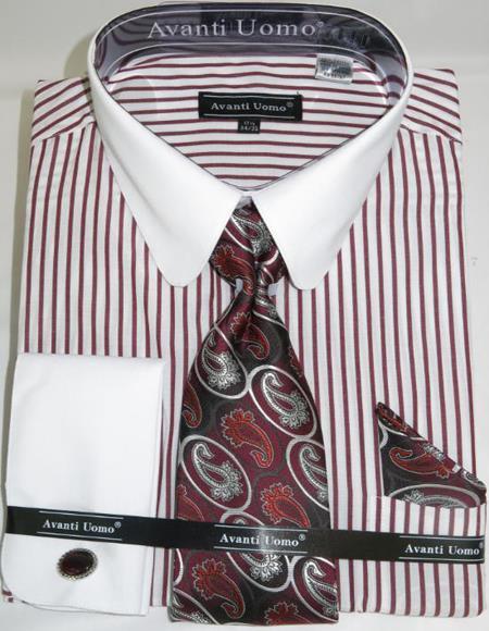 Burgundy Banker Stripe Colorful Mens Dress Shirt