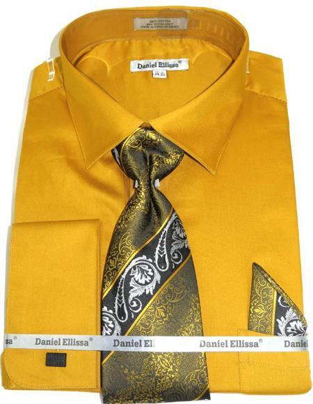 Mens Fashion Dress Shirts and Ties Honey Gold Colorful Men's Dress Shirt