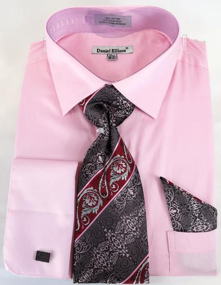 Mens Fashion Dress Shirts and Ties Pink Colorful Men's Dress Shirt