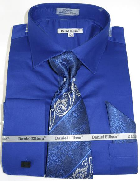 Mens Fashion Dress Shirts and Ties French Blue Colorful Men's Dress Shirt