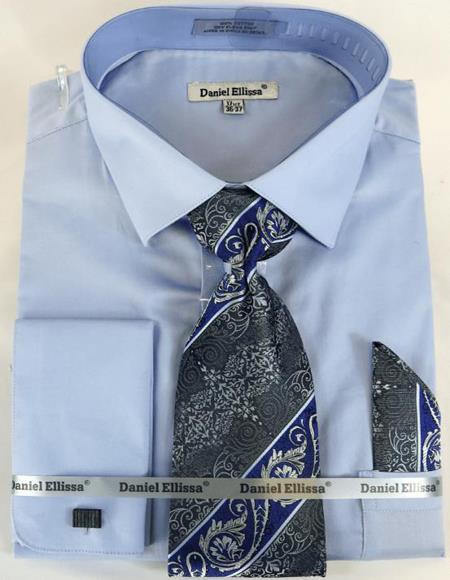 Mens Fashion Dress Shirts and Ties Lt Blue Colorful Men's Dress Shirt