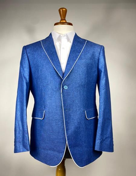 Men's Royal Blue Color Linen Blazer - Sport Coat